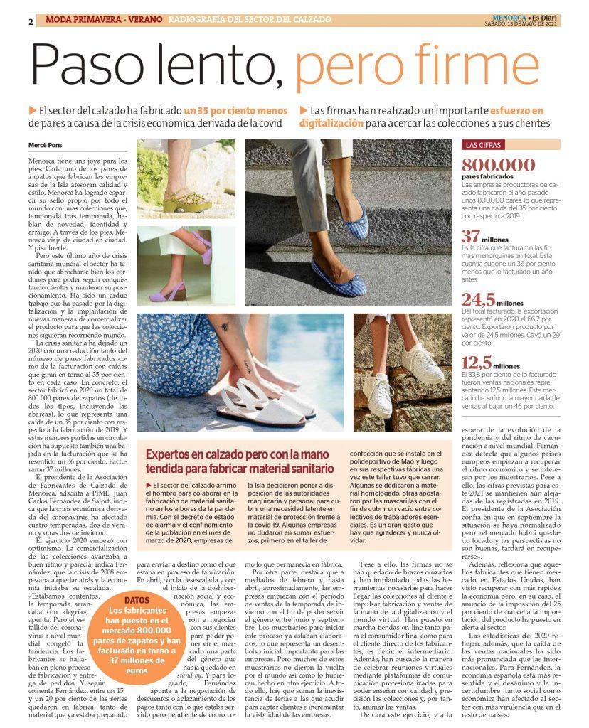 DIARIO MENORCA CON AFCM page 0002 Asociación de fabricantes de calzado de Menorca