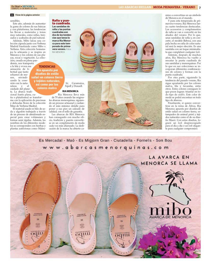 DIARIO MENORCA CON AFCM page 0007 Asociación de fabricantes de calzado de Menorca